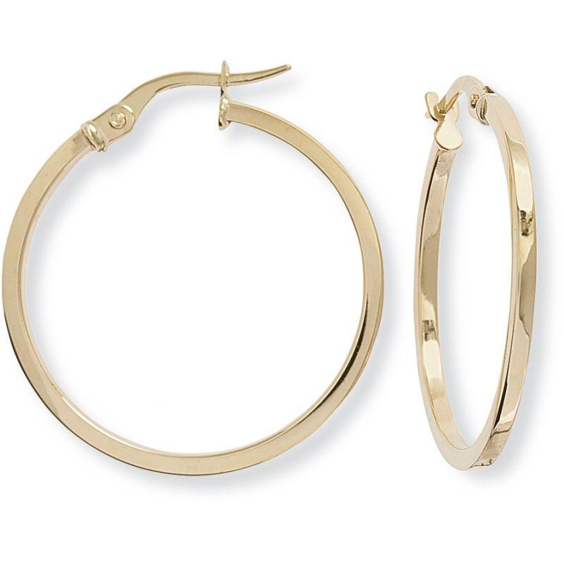 Square Tube Round Hoop Earrings