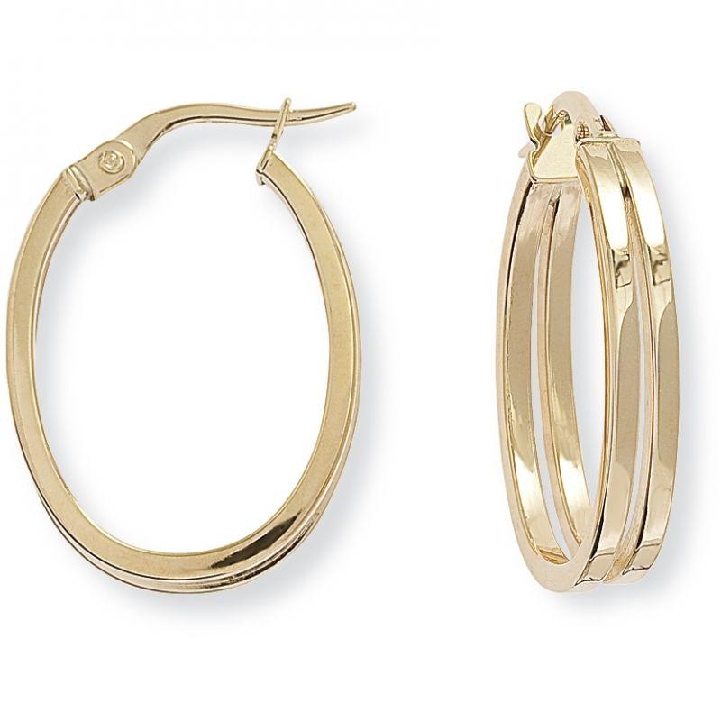 Square Tube Oval Hoop Earrings