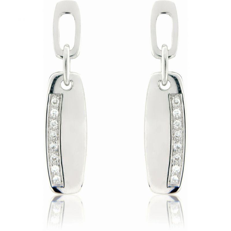White Gold Diamond-set Drop Earrings