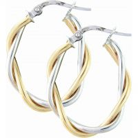 White and Yellow Gold Oval Hoop Earrings
