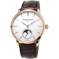 Herren Frederique Constant Slim Linie hergestellt Moonphase Automatik Uhr