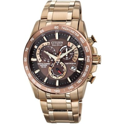 Mens Citizen Eco-drive Chrono Perpetual A-T Radio Controlled Alarm Chronograph PVD rose plating Watch AT4106-52X