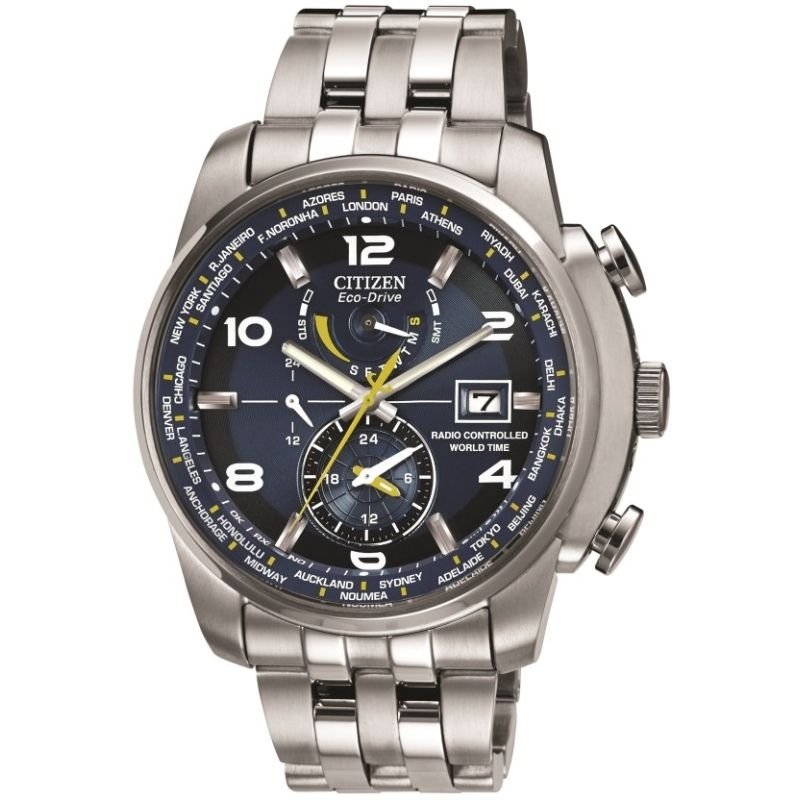 Mens Citizen World Time A.T Alarm Radio Controlled Watch