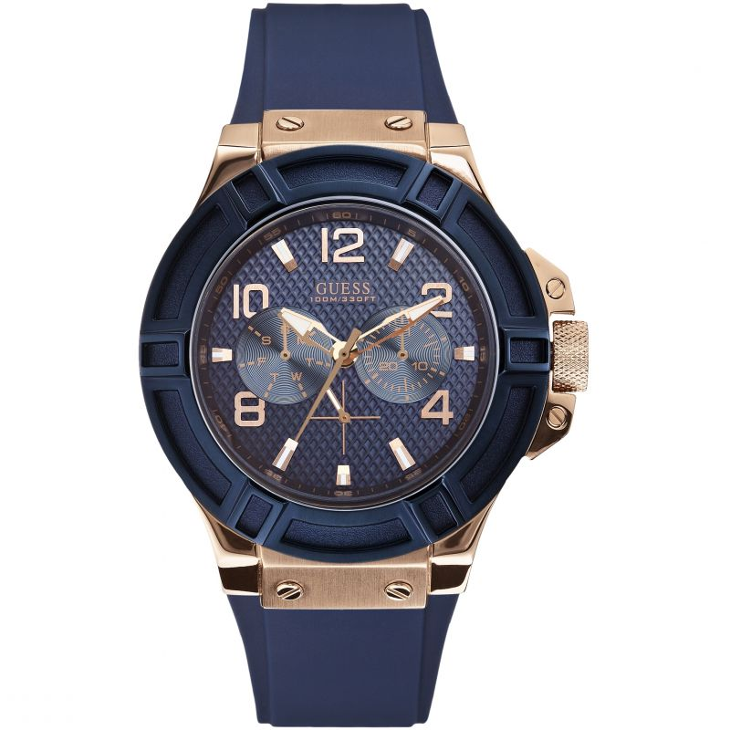 GUESS Men's silicone blue strap watch