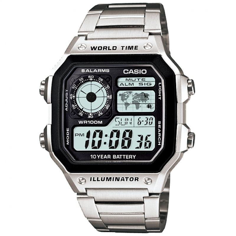 Herren Casio World Time Alarm Chronograph Watch AE-1200WHD-1AVEF