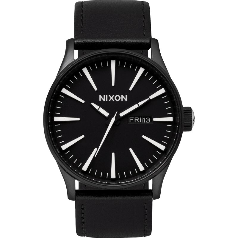 Mens Nixon The Sentry Leather Watch A105-005