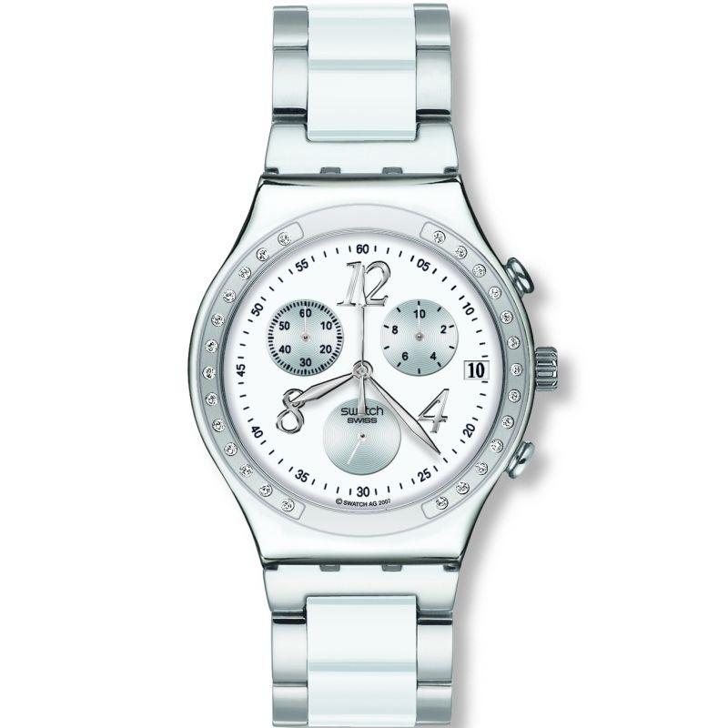 Damen Swatch Dreamwhite Chronograph Watch YCS511GC