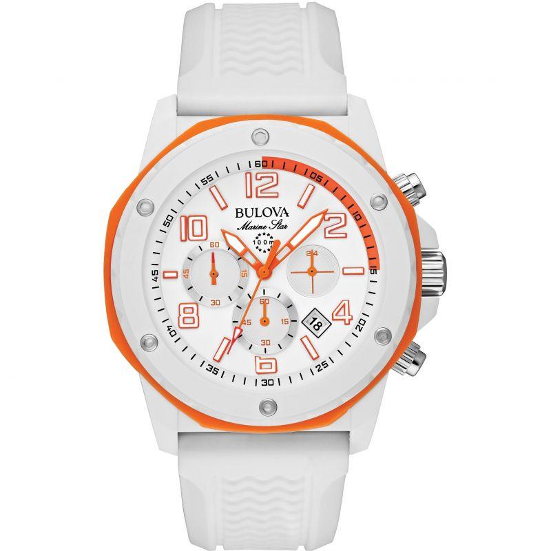 Herren Bulova Marine Star Duramic White Chronograph Watch 98B199