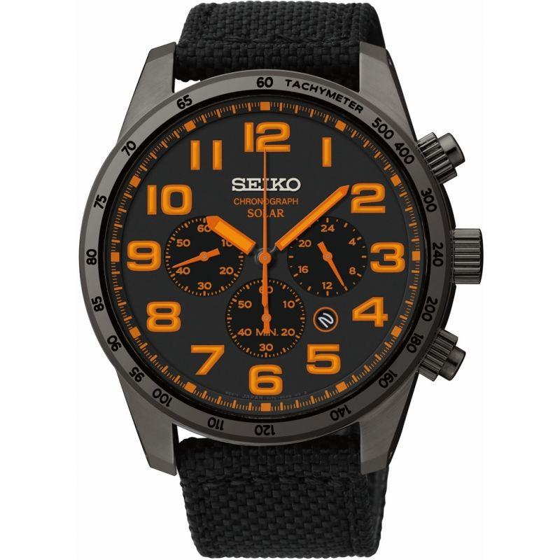 Mens Seiko Chronograph Solar Powered Watch