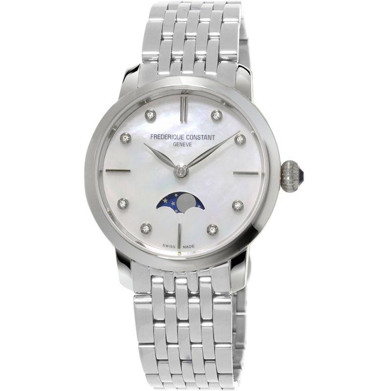 Damen Frederique Constant Slimline Moonphase Diamond Watch FC-206MPWD1S6B