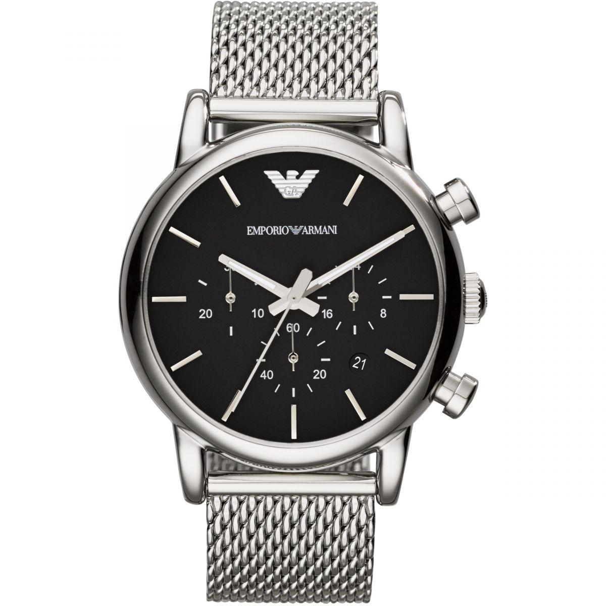 Cheap New Emporio Armani Ar1811 Chronograph Stainless Steel Bracelet Strap Watch Silver/Black for Men Online Sale Sale Online