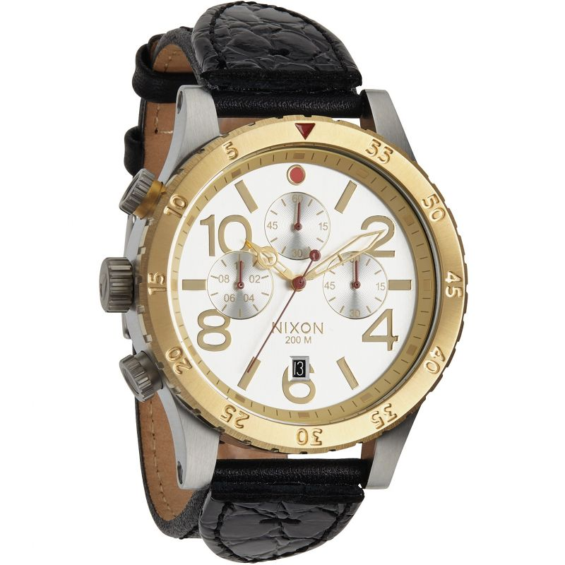 Mens Nixon The 48-20 Chrono Leather Chronograph Watch A363-1884