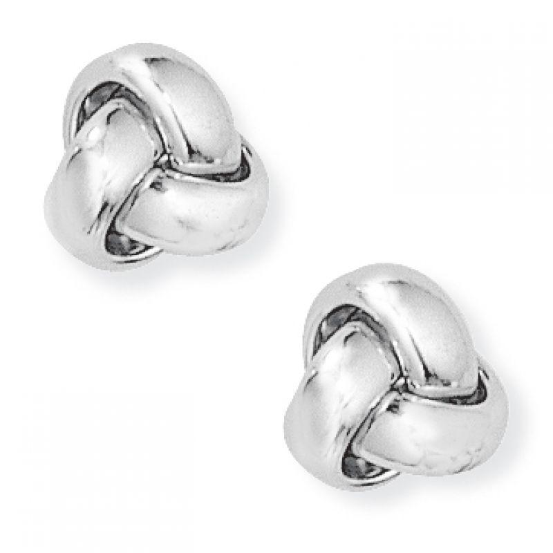 White Gold Knot Earrings