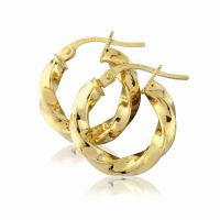 Jewellery 9ct Gold Classic Twisted Hoop Earrings