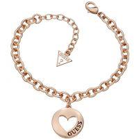 Damen Guess Rose vergoldet G Mädchen Münze Herz Armband
