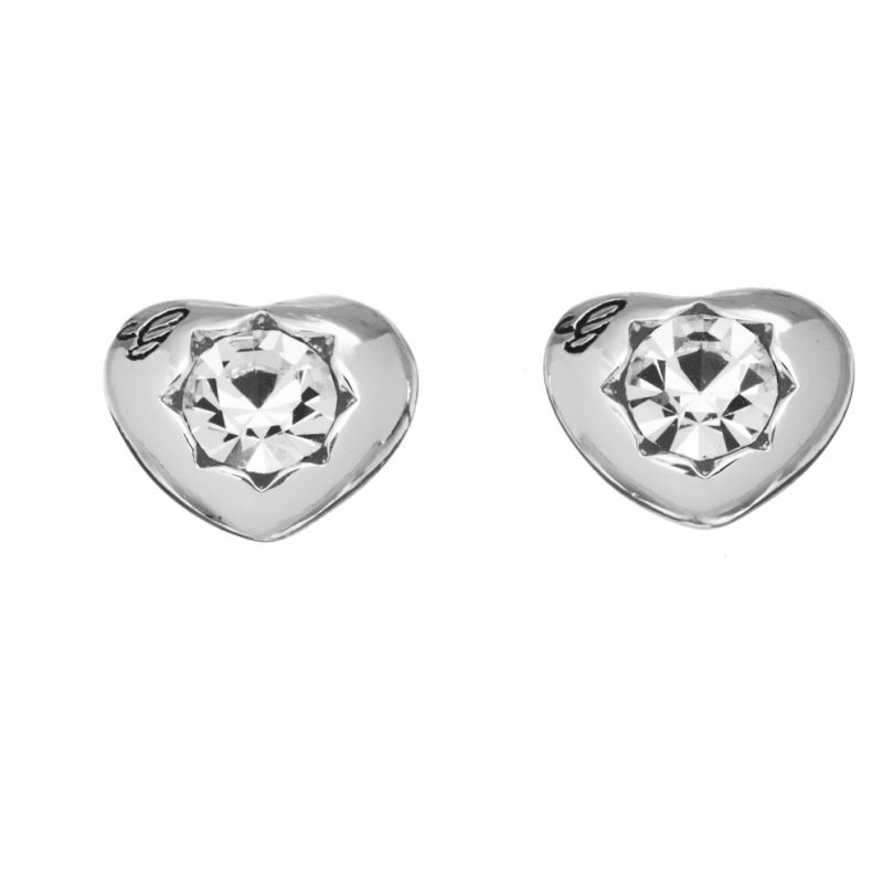 Ladies Guess Rhodium Plated Crystals Of Love Stud Earrings UBE51415