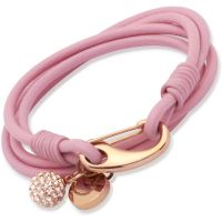 Ladies Unique PVD rose plating Pink Leather Bracelet 19cm B153PI/19CM