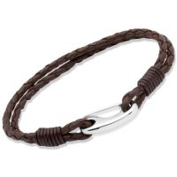 Biżuteria męska Unique & Co Brown Leather Bracelet 23cm B33DB/23CM