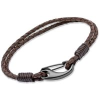 Unique Herr Brown Leather Bracelet 23cm Svart jonpläterat stål B86DB/23CM