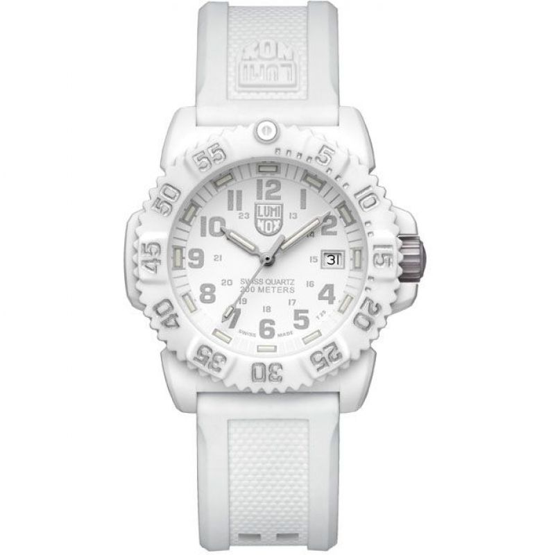 Unisex Luminox Navy Seal Colormark 7050 Series 38mm Whiteout Watch