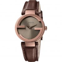 Gucci Interlocking G Dameshorloge Bruin YA133504