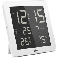 Wanduhr Braun Clocks Digital Wall Alarm Clock Radio Controlled BNC014WH-RC