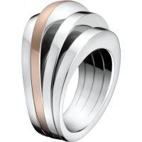 Damen Calvin Klein zweifarbig Stahl/vergoldet Größe O Breathe Ring