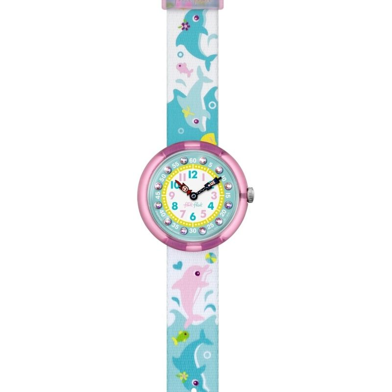 Kinder Flik Flak Cute Size Splashy Dolphins Watch FBNP035