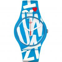 unisexe Swatch New Gent - White In Blue Watch SUOS103