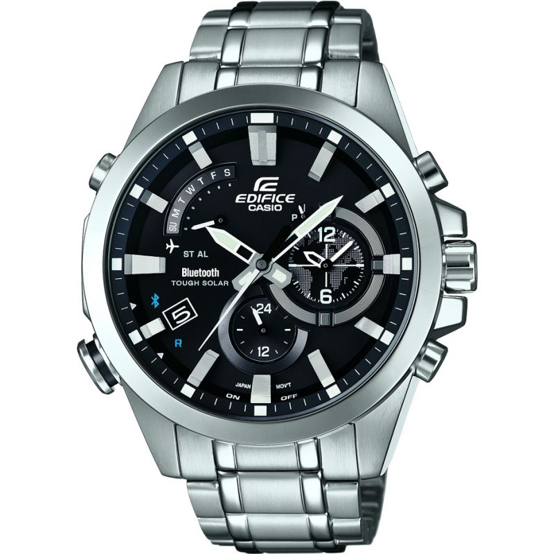 Herren Casio Edifice Time Traveller Bluetooth Hybrid Smartwatch Alarm Chronograph Watch EQB-510D-1AER