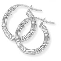 Jewellery White Gold Twisted Hoop Earrings Watch ER816