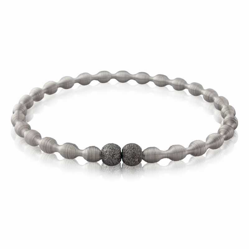 Jewellery Stainless Steel Spring Bangle with two Charcoal-hue Galvanised Silver Beads