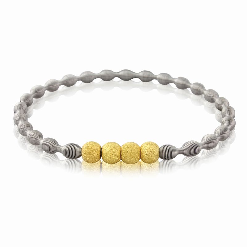 Jewellery Stainless Steel Spring Bangle with Four Gold-hue Galvanised Silver Beads