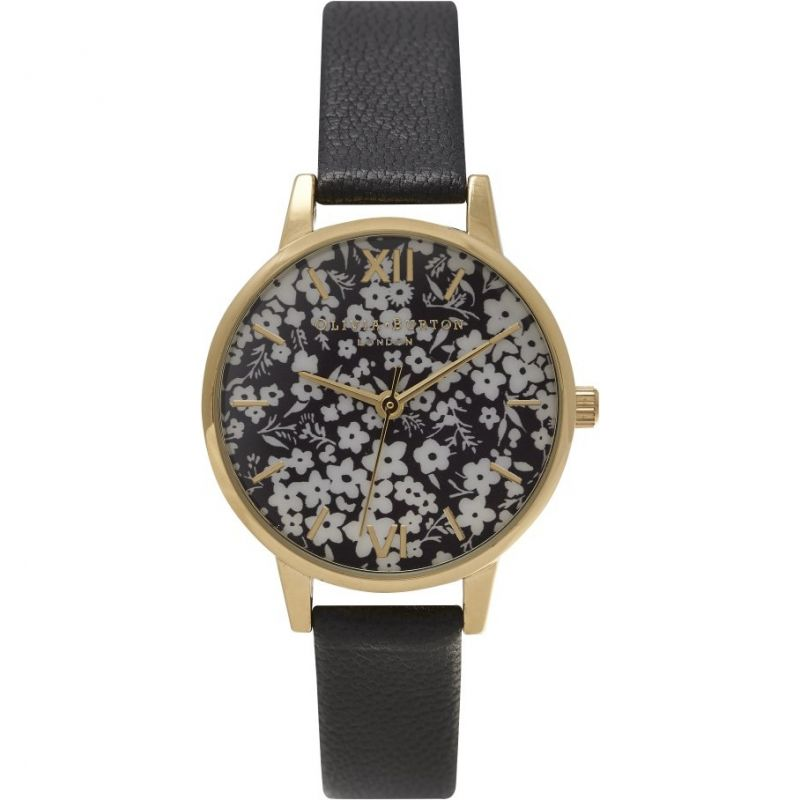 Ladies Olivia Burton Monochrome Ditsy Floral Watch OB15DP01