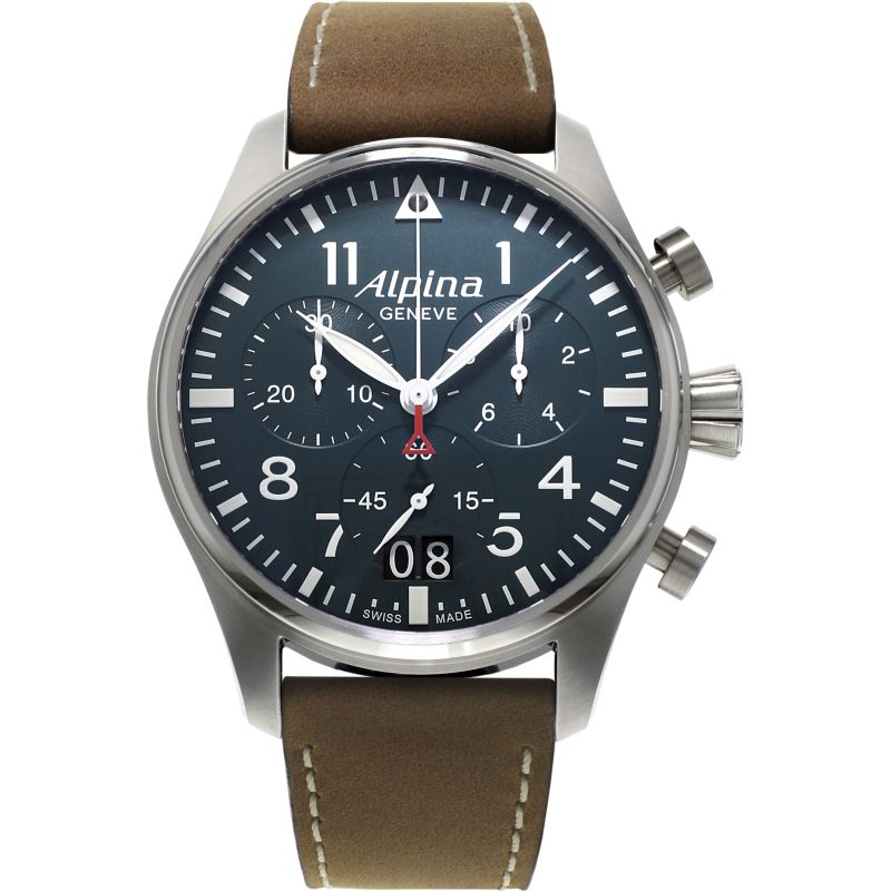 Mens Alpina Startimer Pilot Chronograph Watch AL-372N4S6