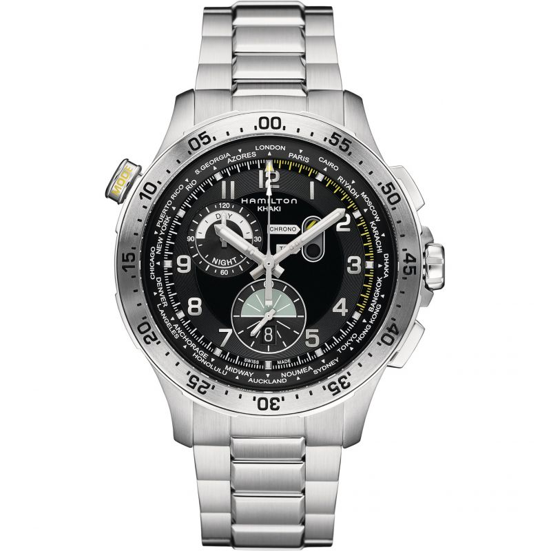 Mens Hamilton Khaki Pilot Worldtimer Chronograph Watch