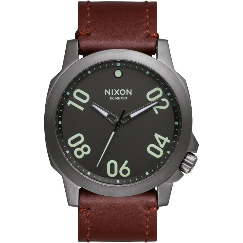 Mens Nixon The Ranger 45 Leather Watch