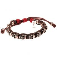 Icon Brand Stainless Steel Bald Heads Bracelet P249-BR-RED