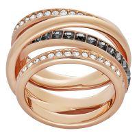Ladies Swarovski PVD rose plating Size Q Dynamic Ring 58 5184219