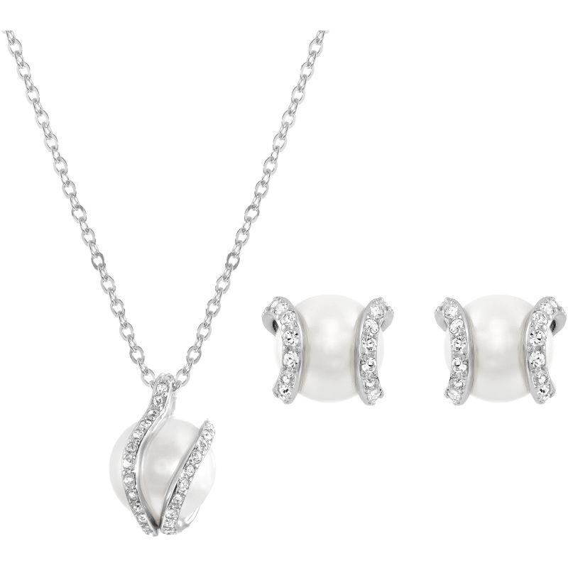 Ladies Swarovski Stainless Steel Nude Necklace Earring Set 1081922