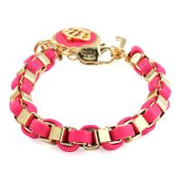 Juicy Couture Dames Box Chain Leather Bracelet With Coin PVD verguld Goud WJW402-621