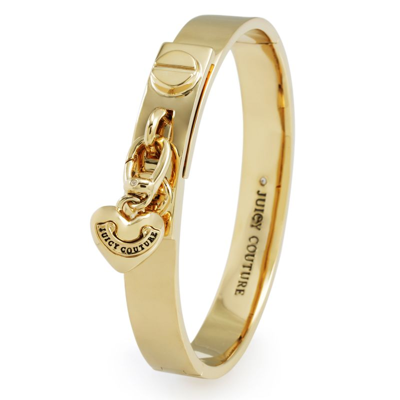 Ladies Juicy Couture PVD Gold plated Heart Charmed Hinged Bangle WJW404