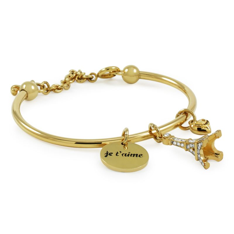 Ladies Juicy Couture PVD Gold plated Pave Eiffel Tower Slider Bangle WJW455-710