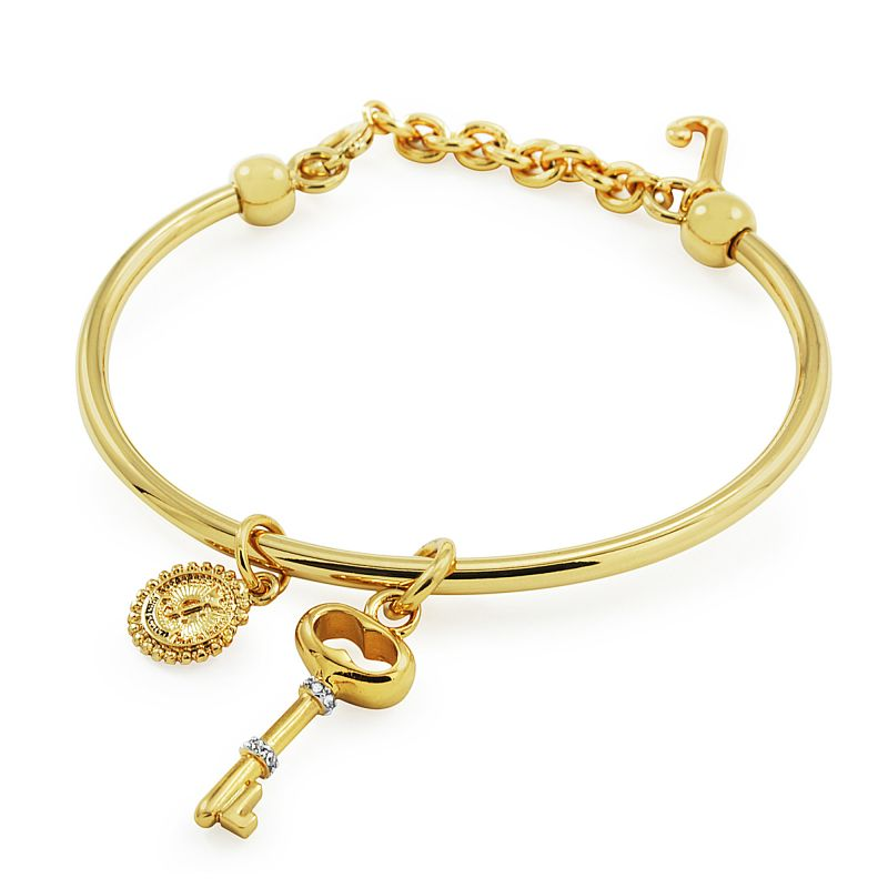 Ladies Juicy Couture PVD Gold plated Key Slider Bangle WJW515-710