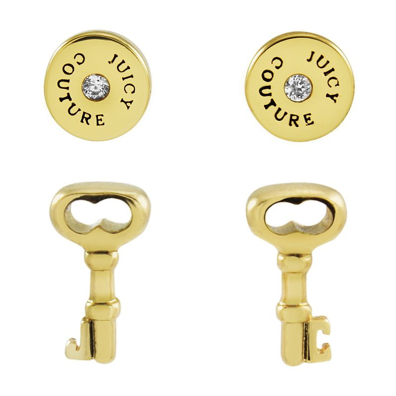 Juicy Couture Dames Key And Disc Earrings Set PVD verguld Goud WJW528-710