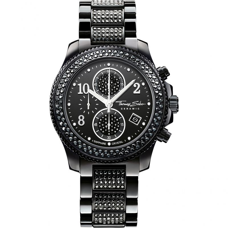 Unisex Thomas Sabo Glam Ceramic Chronograph Watch WA0183-246-203-40MM