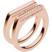 Ladies Emporio Armani Sterling Silver Size P Ring EG3215221508