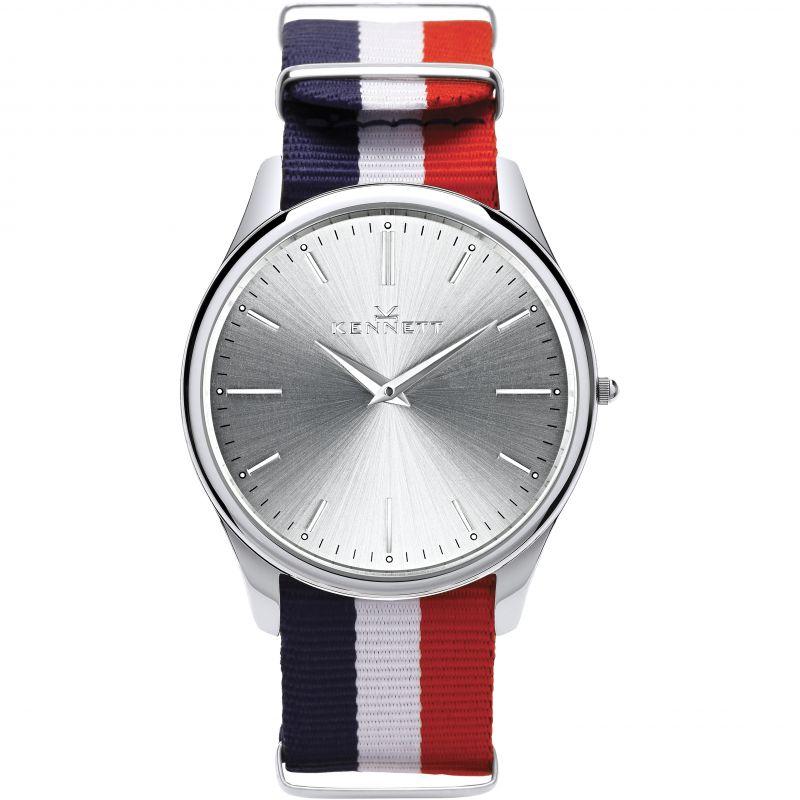 Mens Kennett Kensington Silver RWB Nato Watch