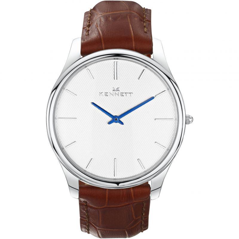 Mens Kennett Kensington Silver White Light Brown Watch
