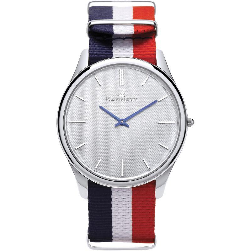 Mens Kennett Kensington Silver White RWB Nato Watch